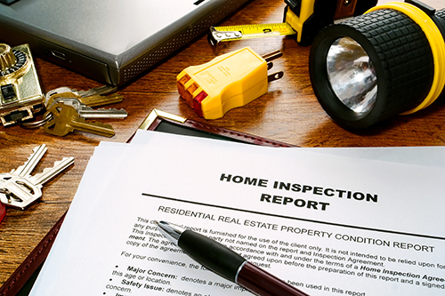 home inspection words and magnifying glass